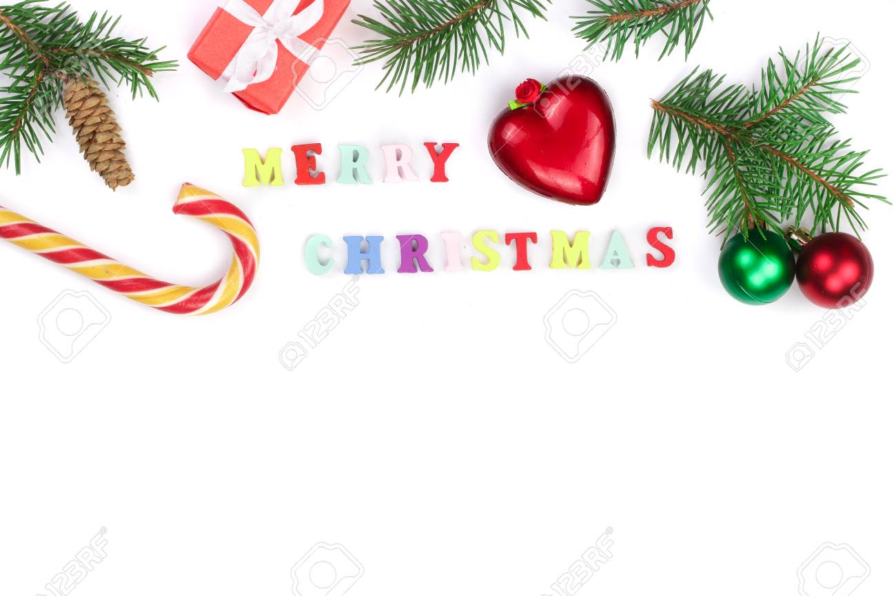 Christmas Background With Merry Christmas Inscription Isolated On ...