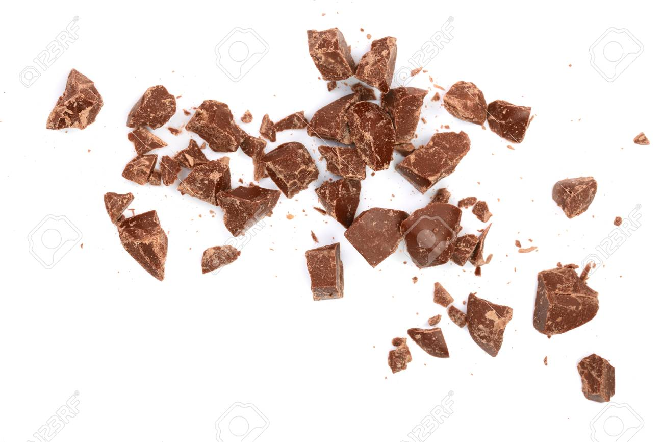 Chocolate pieces isolated on white. Top view. Flat lay. - 94808396