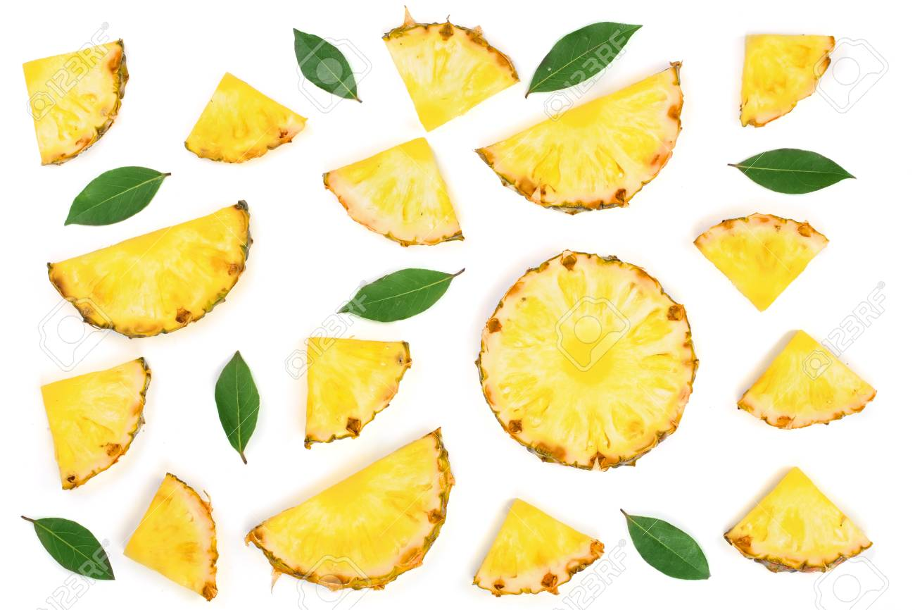 Sliced pineapple with green leaves isolated on white background. Top view. Flat lay pattern. - 95294149