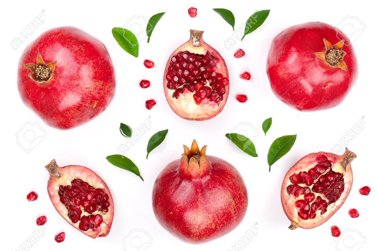pomegranate with leaves isolated on white background. Top view. Flat lay pattern - 96239890
