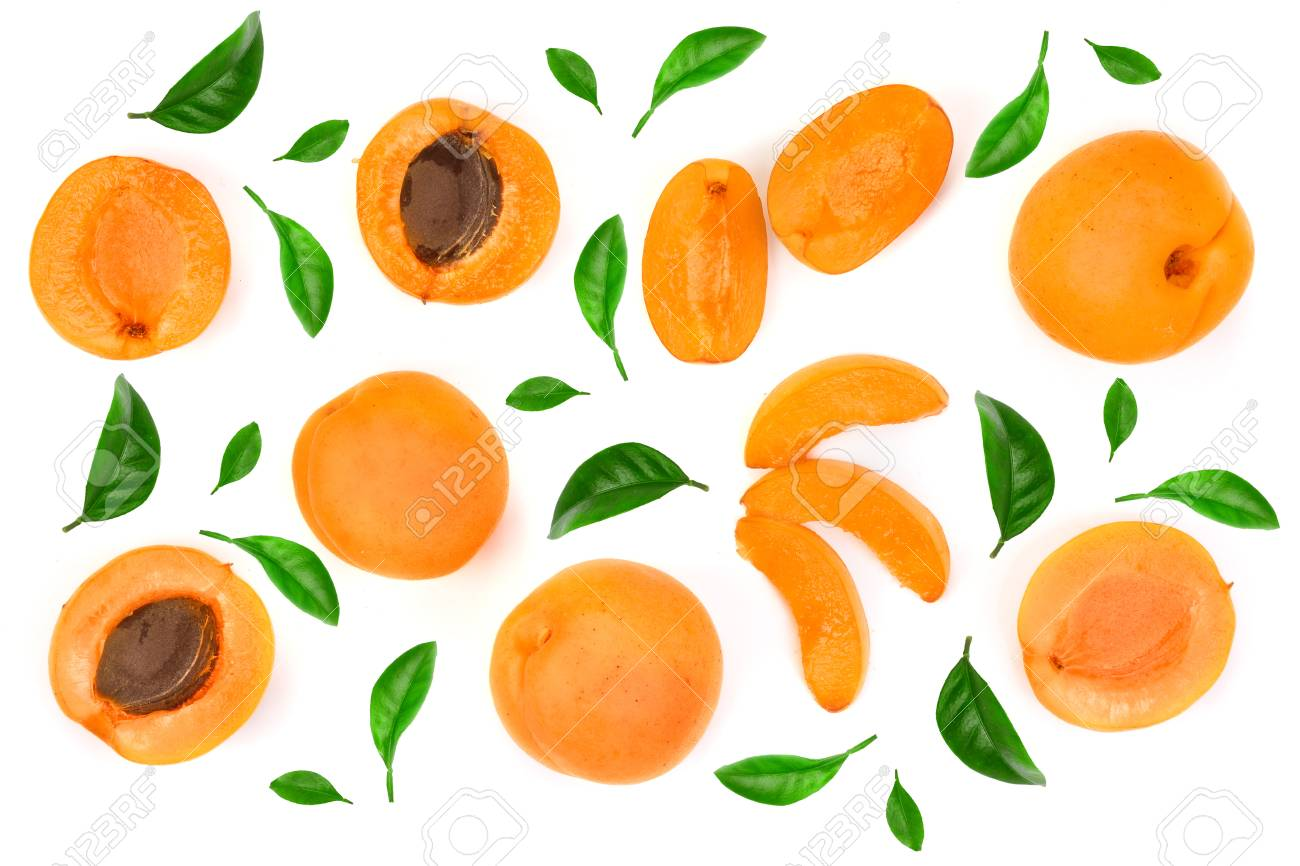 Apricot fruits isolated on white background macro. Top view. Flat lay pattern. - 110600483