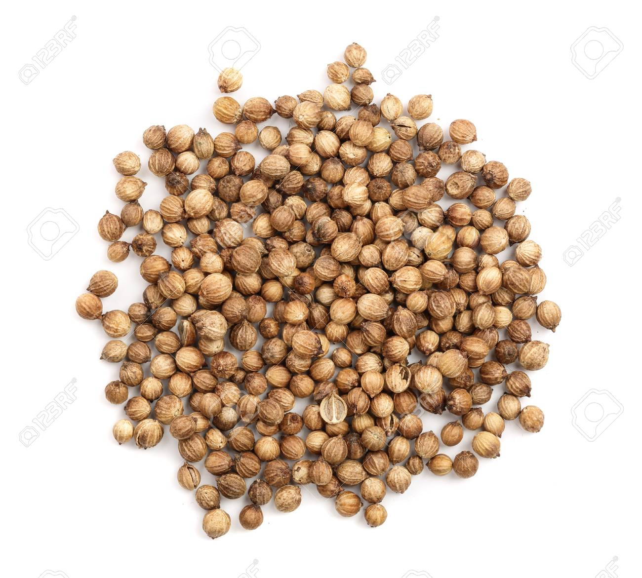 Coriander seeds isolated on white background top view. - 112233960