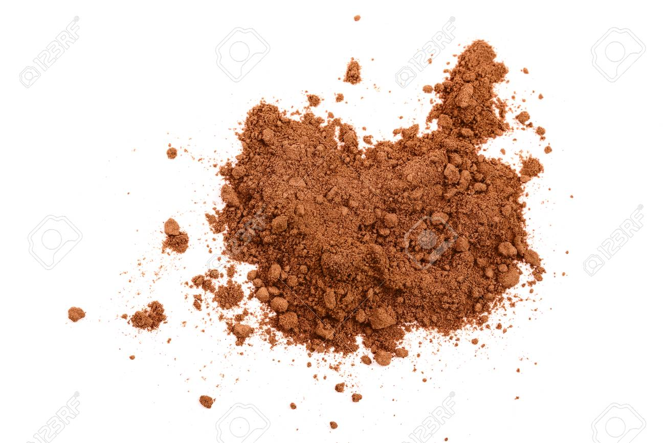pile of cocoa powder isolated on white background. Top view. Flat lay - 112893589