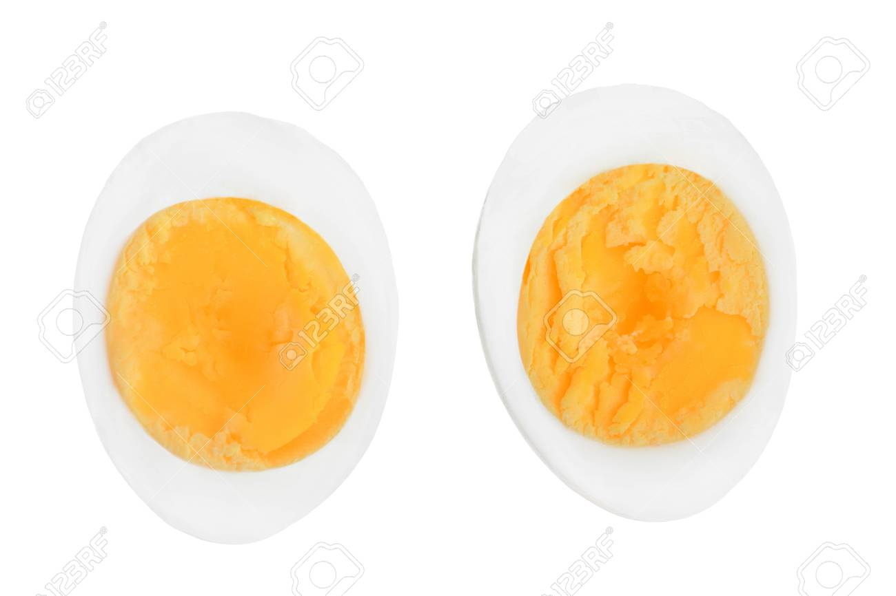 half boiled egg isolated on white background. Top view. - 118516238