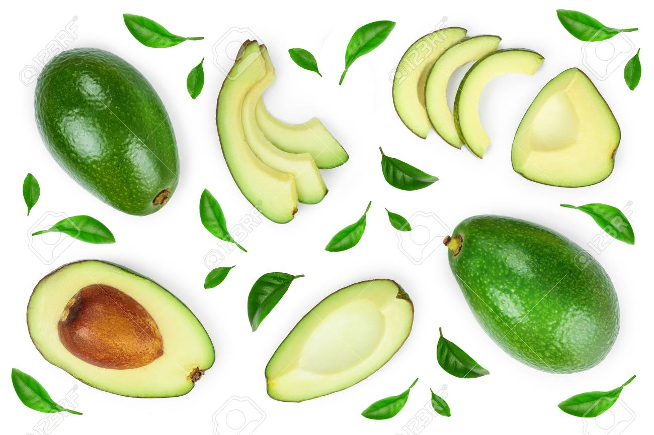 avocado and slices decorated with green leaves isolated on white background. Top view. Flat lay - 120335371
