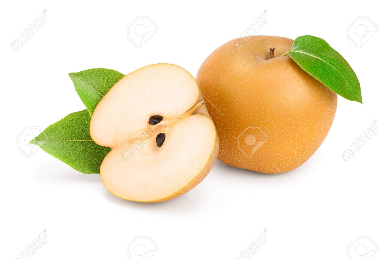 Fresh asian pear with leaf isolated on white background - 123638376