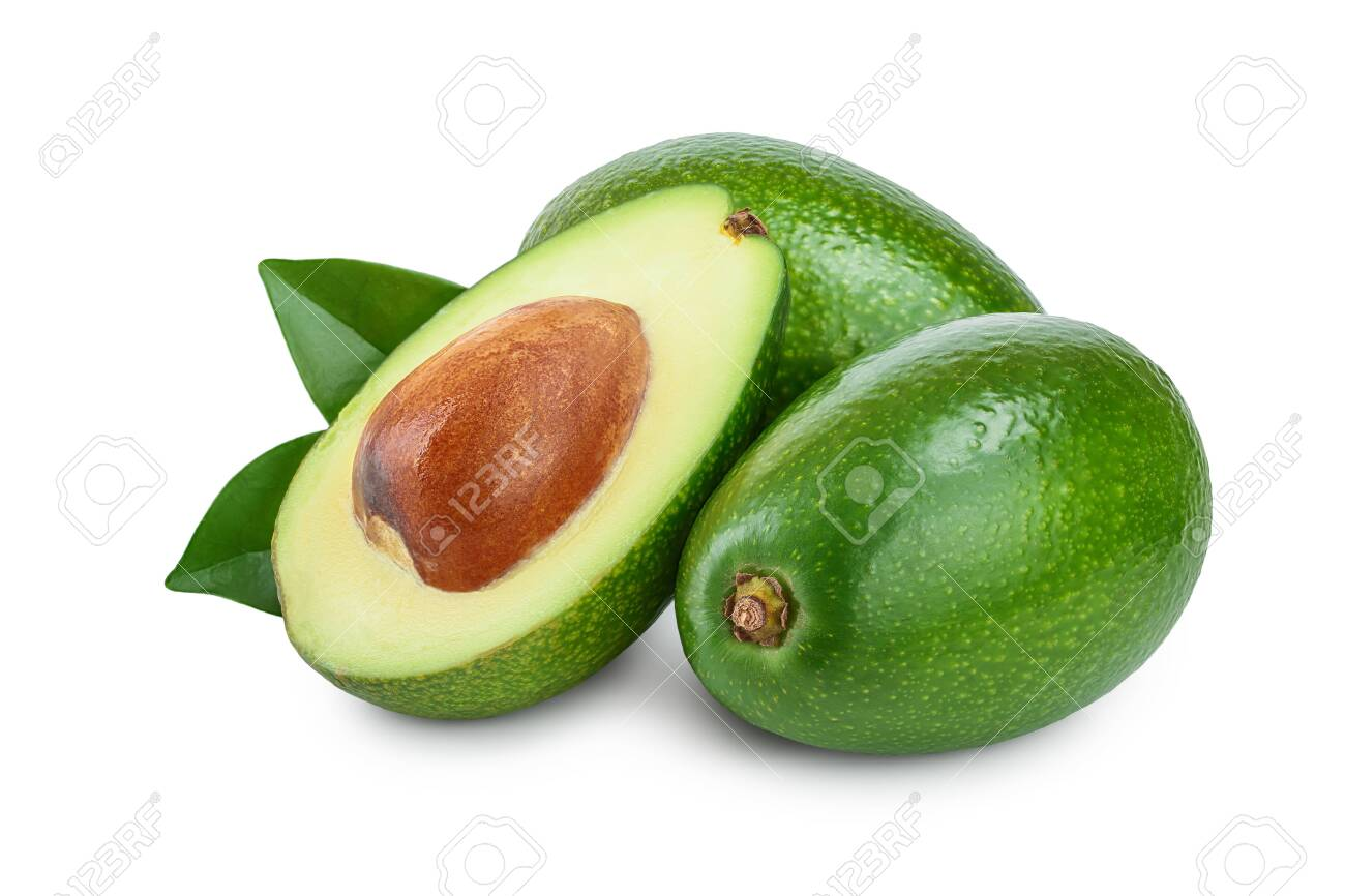 avocado and half with leaves isolated on white background close-up - 129831317