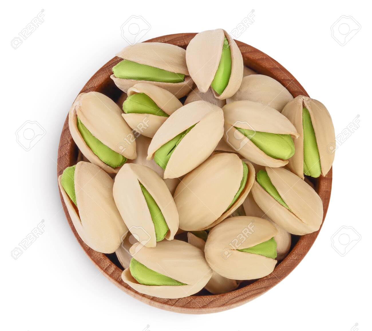 pistachio in wooden bowl isolated on white background with clipping path and full depth of field. Top view. Flat lay - 142820411
