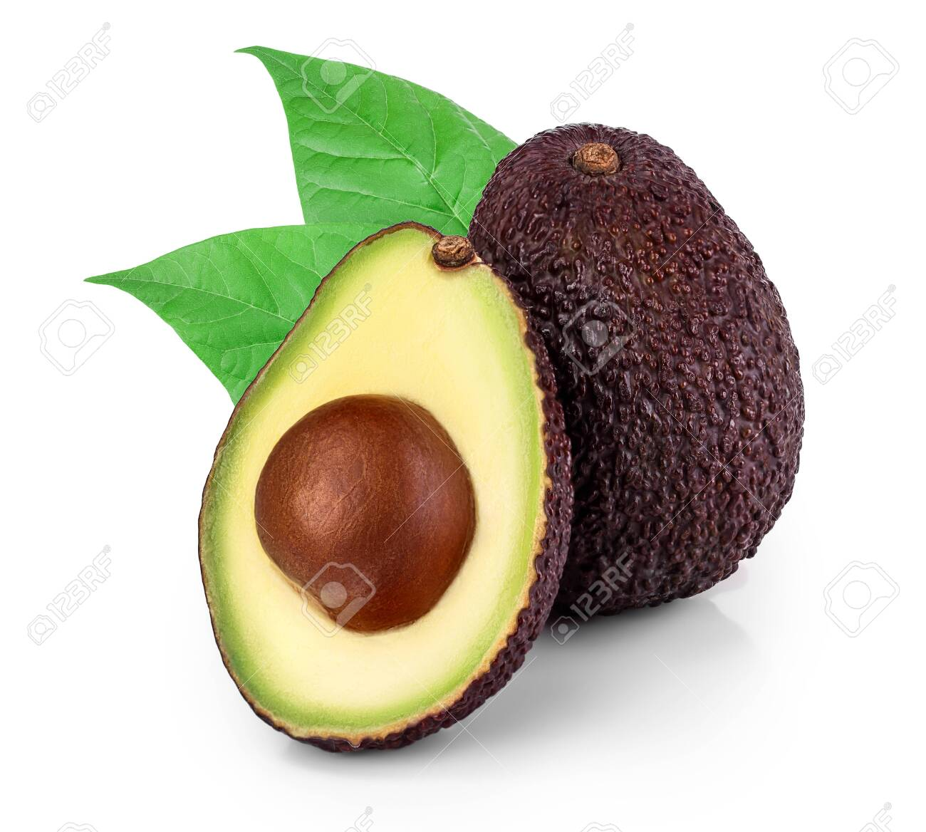 avocado and half with leaves isolated on white background - 143722033