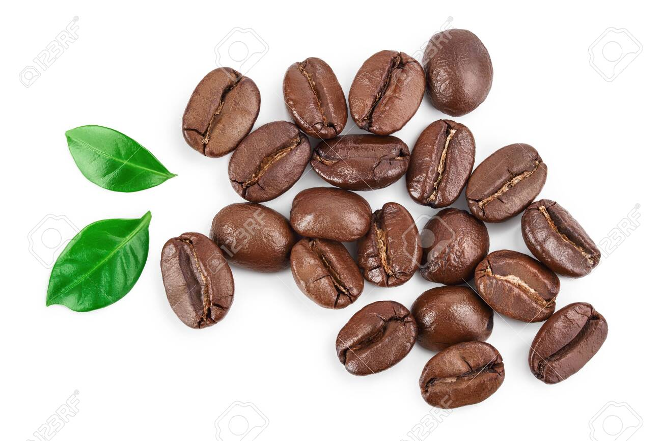 Heap of roasted coffee beans with leaves isolated on white background. Top view. Flat lay. - 150150320