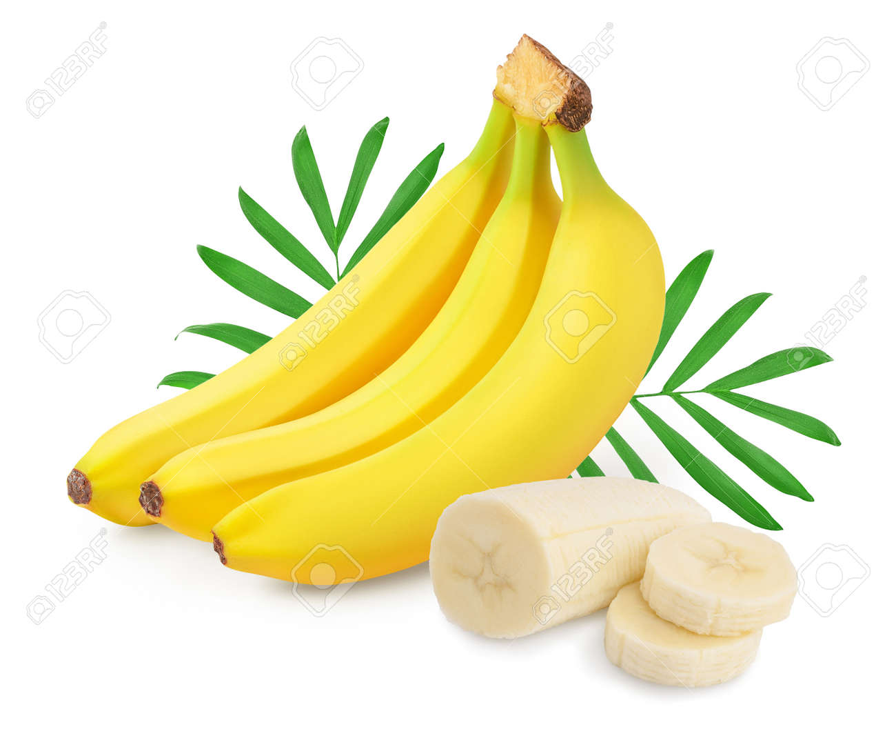 Bunch of bananas isolated on white background with clipping path and full depth of field. - 146695910