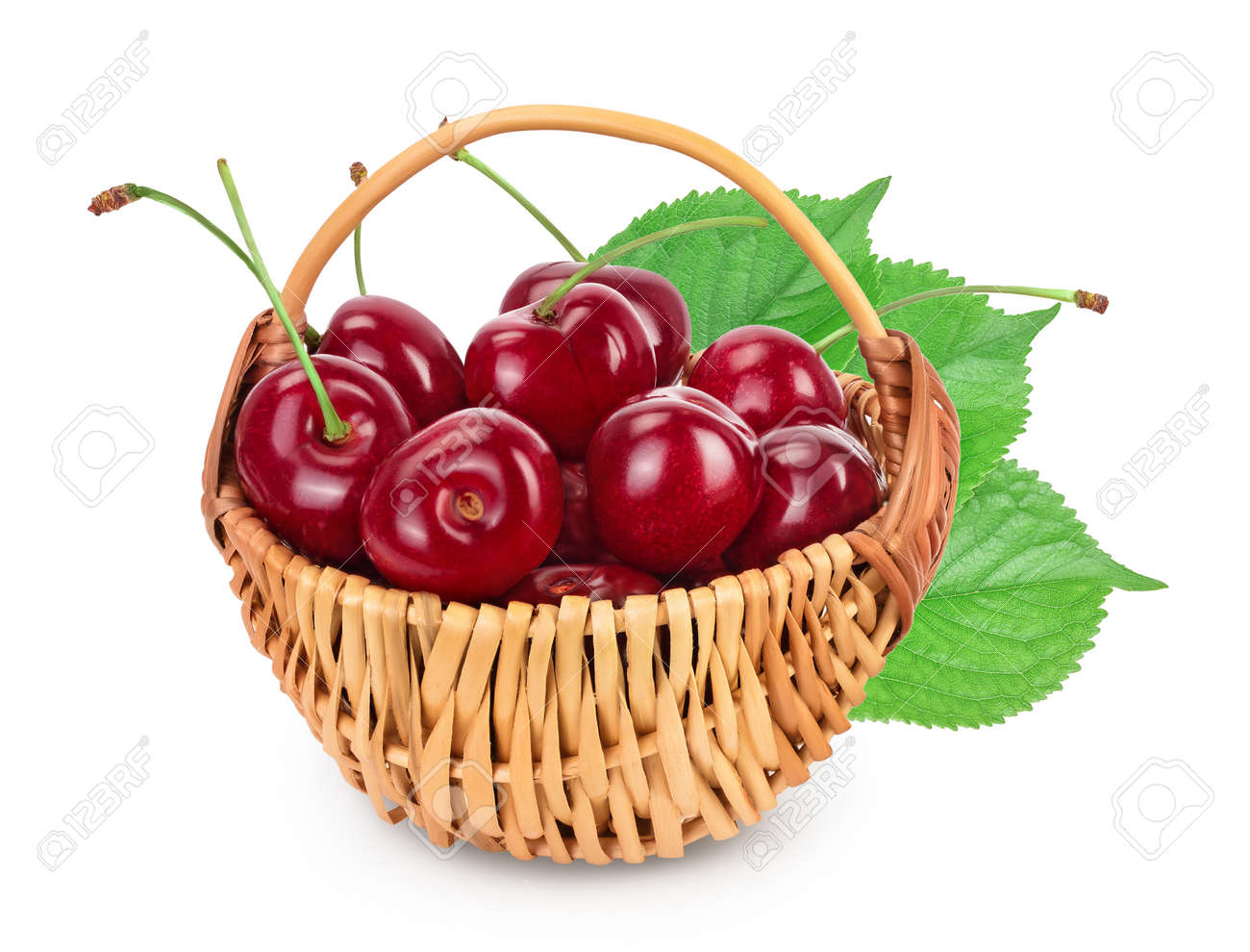 red sweet cherry in a wicker basket isolated on white background with clipping path and full depth of field - 155401238