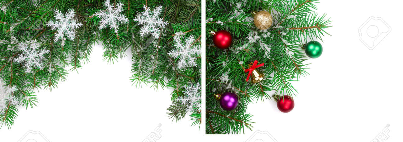 Christmas frame decorated isolated on white background with copy space for your text. Top view. - 158414917