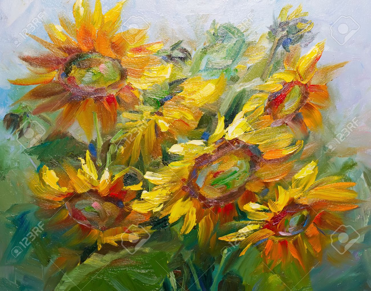 Texture Oil Painting Flowers Art Painted Color Image Paint Wallpaper And