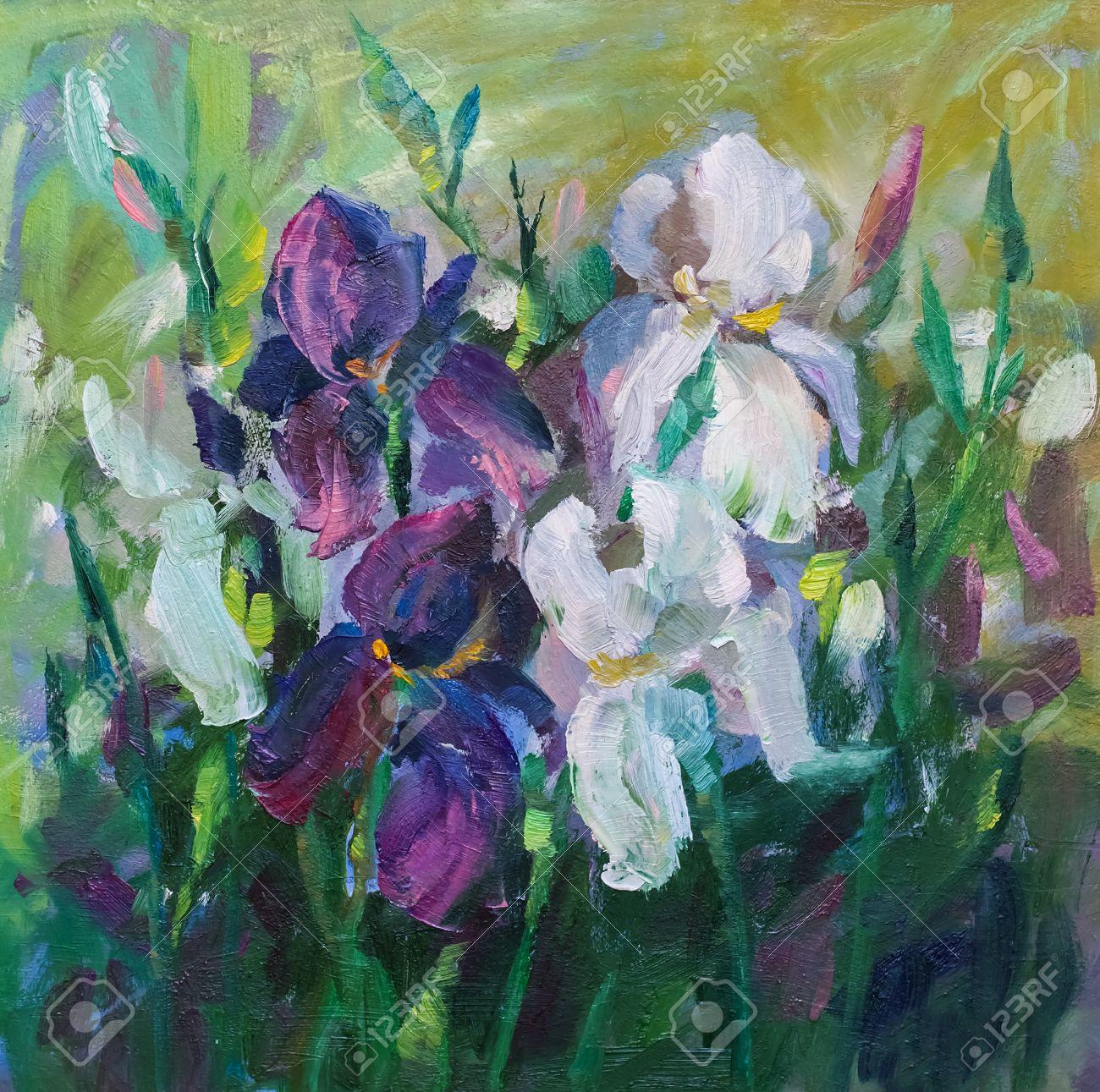Peinture Nature Morte Peinture à Lhuile Texture Art Iris D