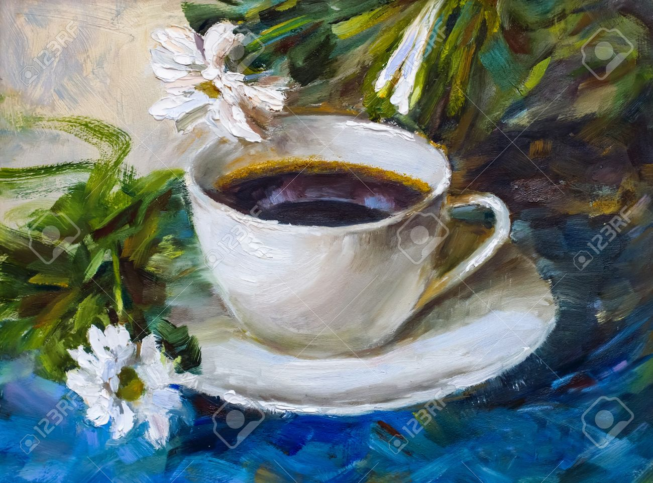 Painting Texture Oil Painting Still Life A Cup Of Coffee Drink