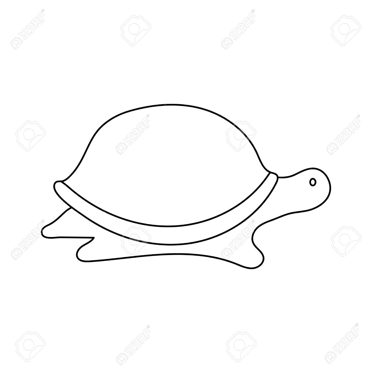 Vector Illustration Of Simple Cartoon Outline Turtle Royalty Free
