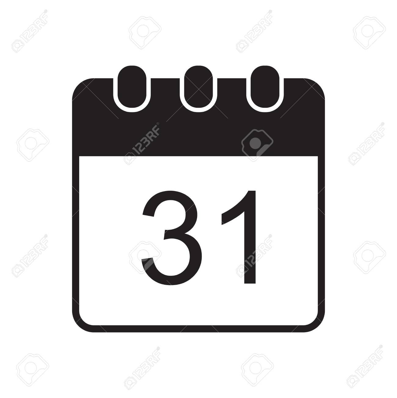 Vector icon of calendar page with 31 number. - 110951061