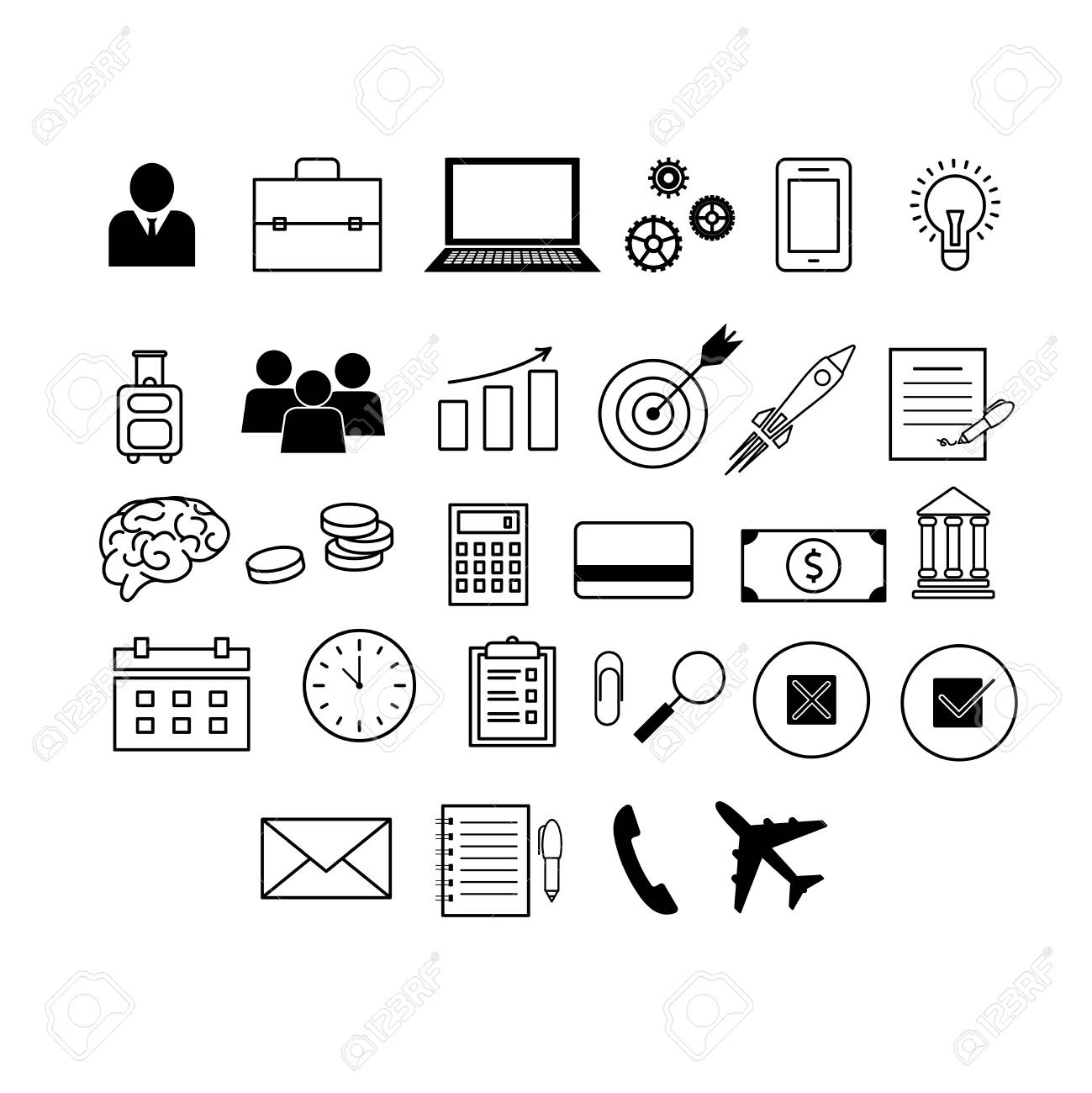 Vector icons on business and finance theme. - 127383156