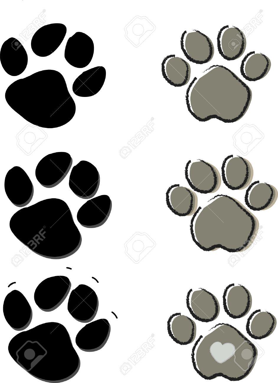Mignons animaux chiens et chats patte impression isolé sur blanc Banque d'images - 25651547