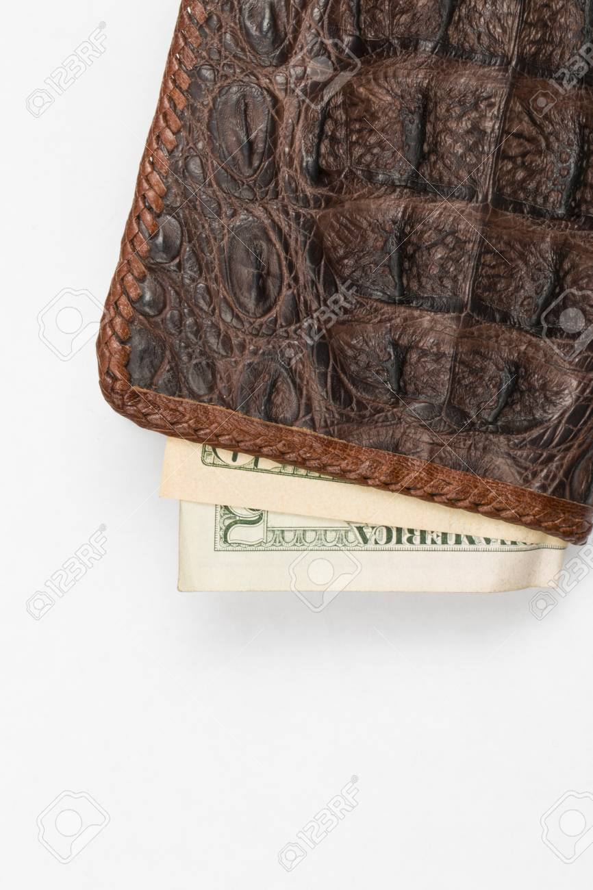 eb24fd7aa Hand Made Purse From Alligator Skin With Money Stock Photo, Picture ...