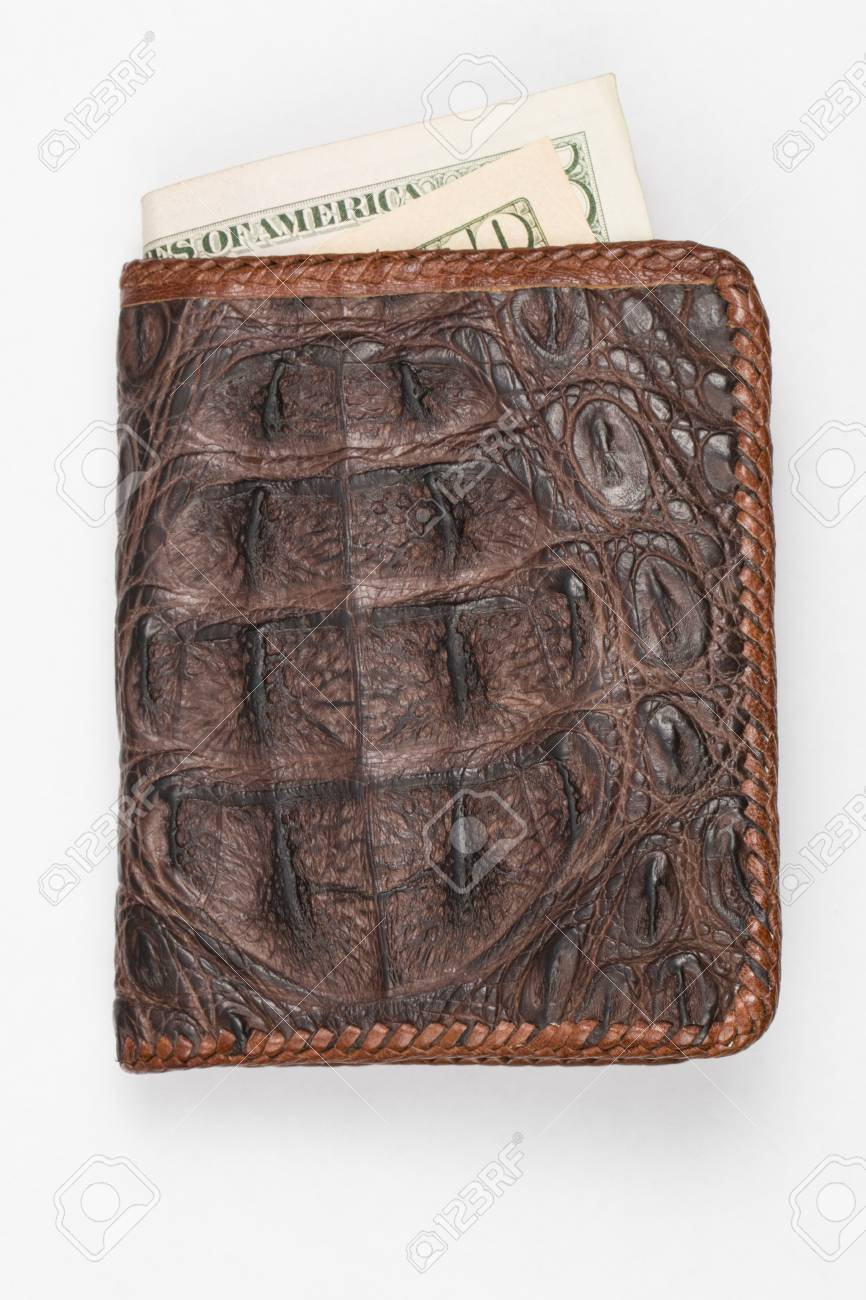 f92193b04 Money In Hand Made Purse From Alligator Skin Stock Photo, Picture ...
