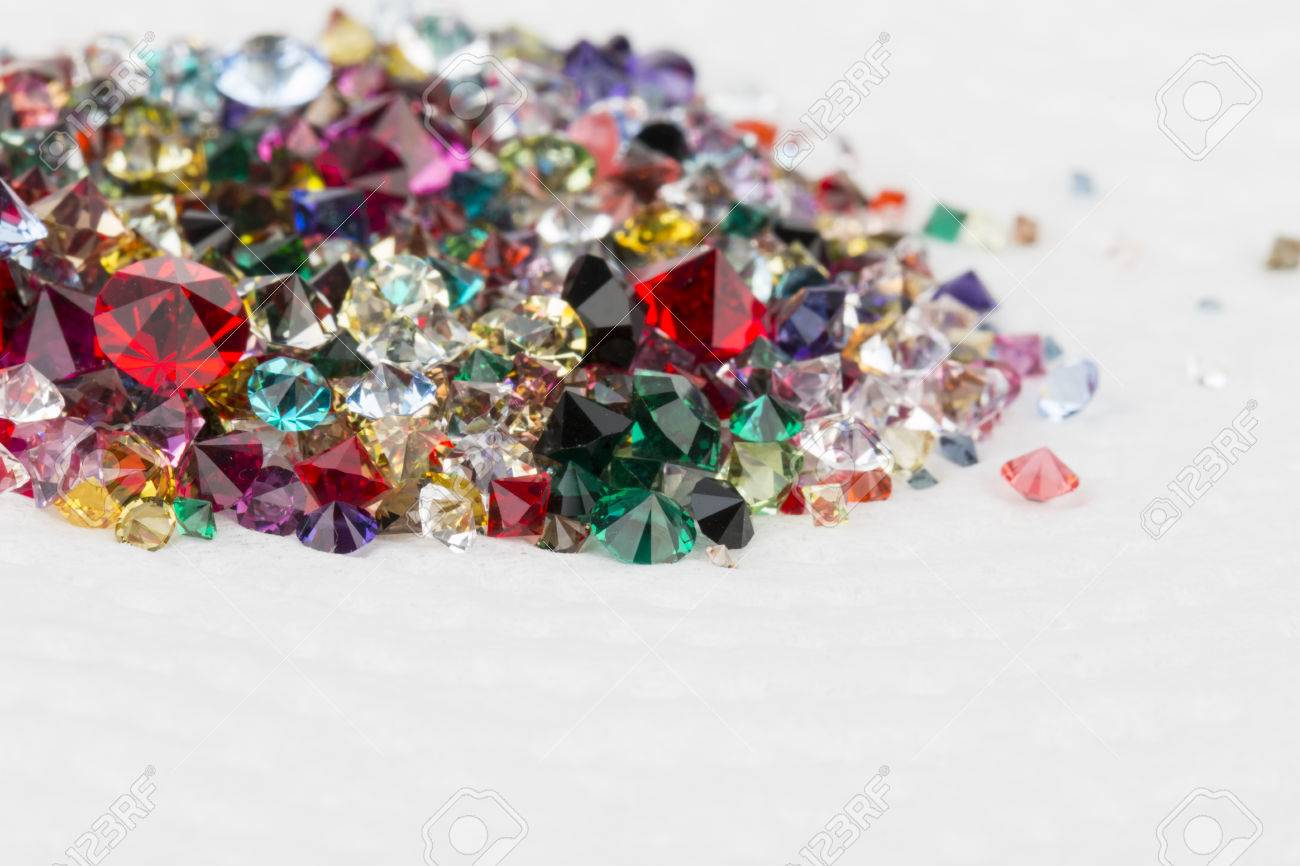 Collection of many different natural gemstones. Stock Image macro. Banque d'images - 40649839