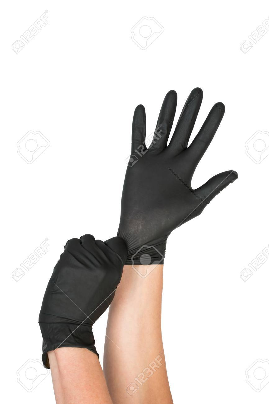 Black Surgical Latex Glove. Stock Image macro. Banque d'images - 45611985