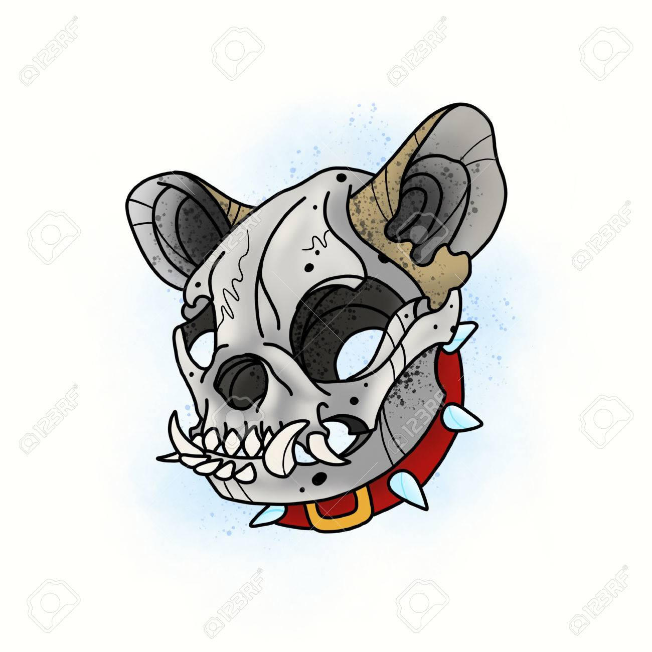 Dog Skull Stylized Skeleton French Bulldog Cartoon Illustration