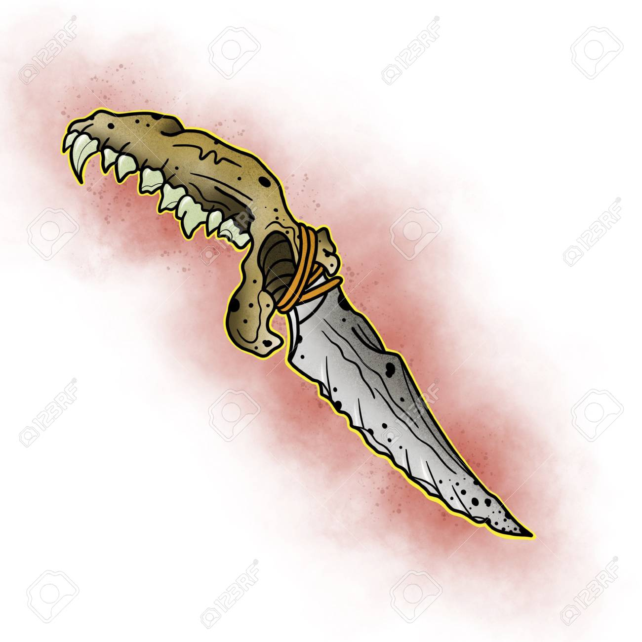 Stylized Knife Tattoo Design Cartoon Illustration Hand Drawn Stock Photo Picture And Royalty Free Image Image 84155749