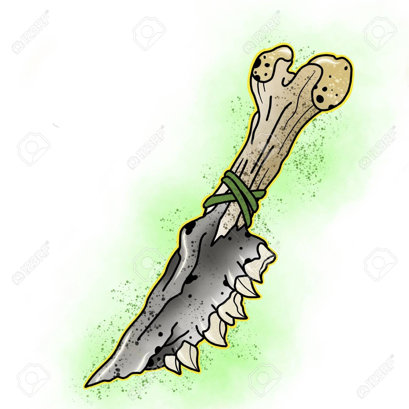 Stylized knife. Tattoo design. Cartoon illustration, hand drawn style. Banque d'images - 84466976
