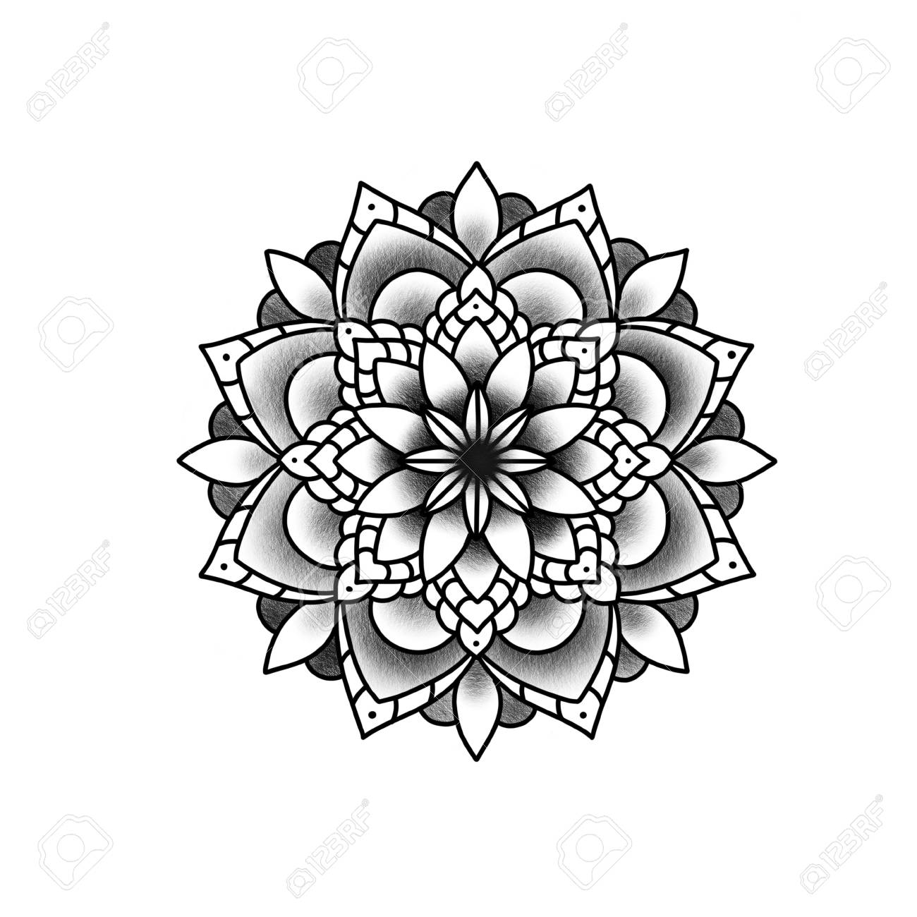 Flower mandala. Vintage decorative element. Islam, Arabic, Indian, ottoman motifs. Banque d'images - 84371934