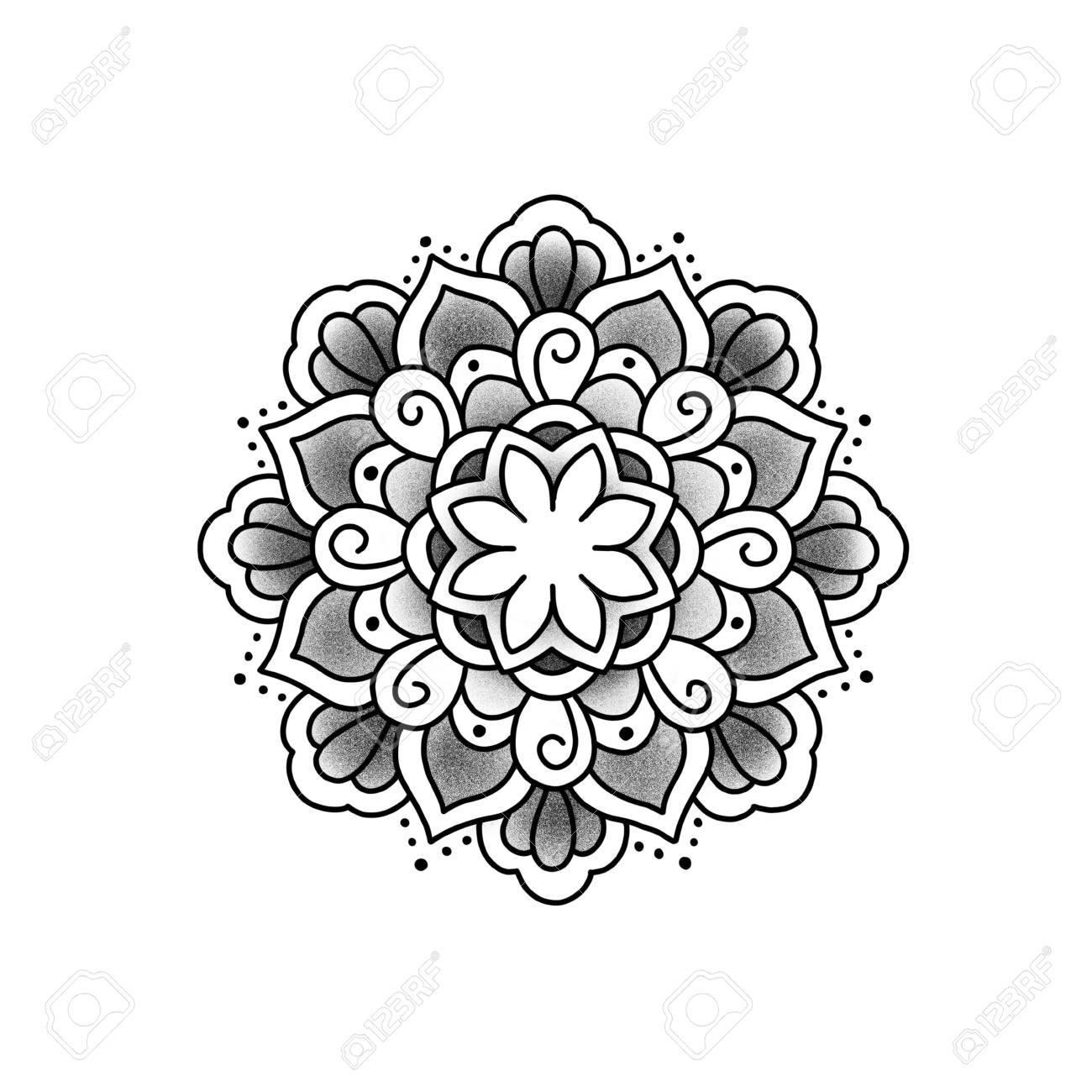 Flower mandala. Vintage decorative element. Islam, Arabic, Indian, ottoman motifs. Banque d'images - 84371936