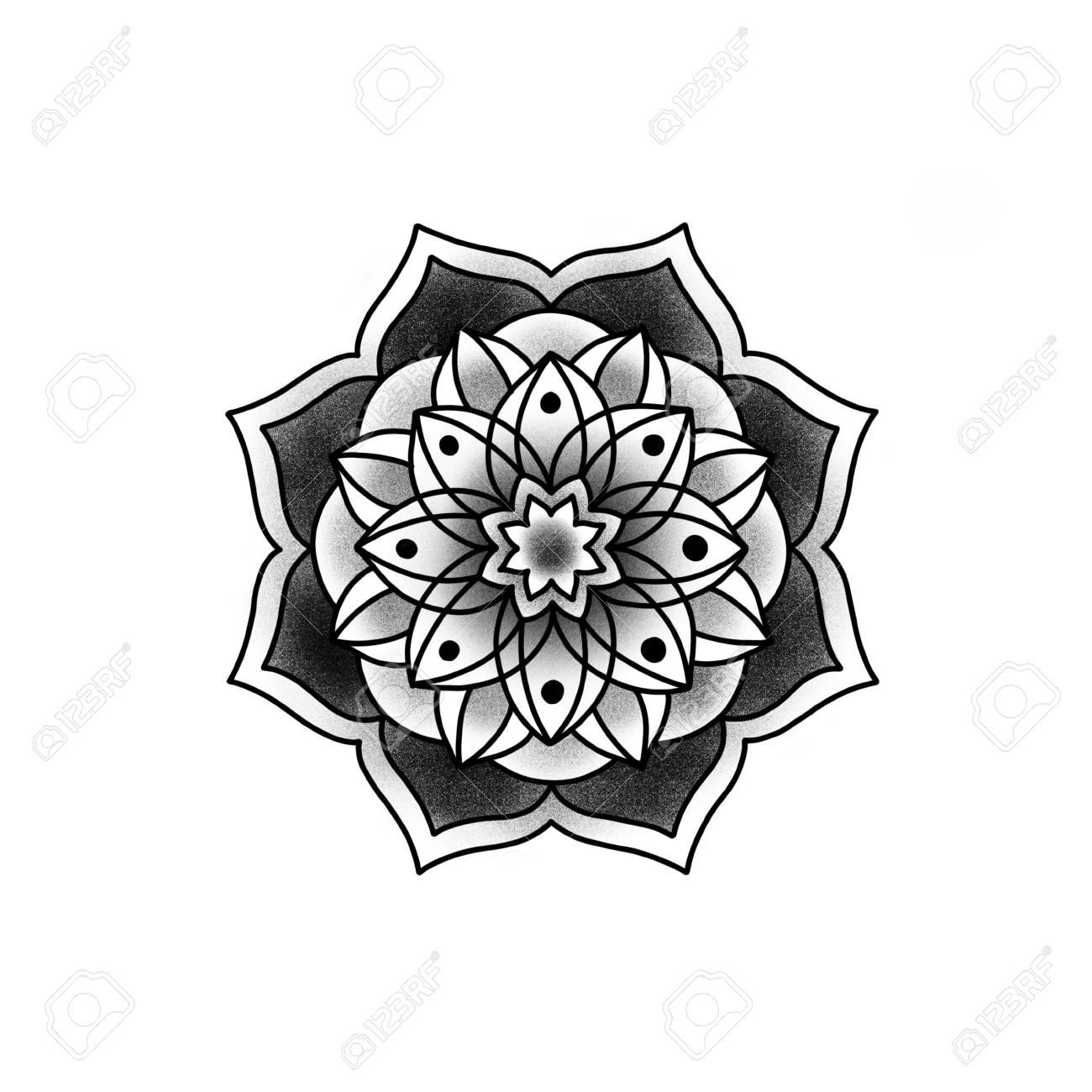 Mandala fleuri. Élément décoratif vintage. Islam, arabe, indien, motifs ottomans. Banque d'images - 84371937