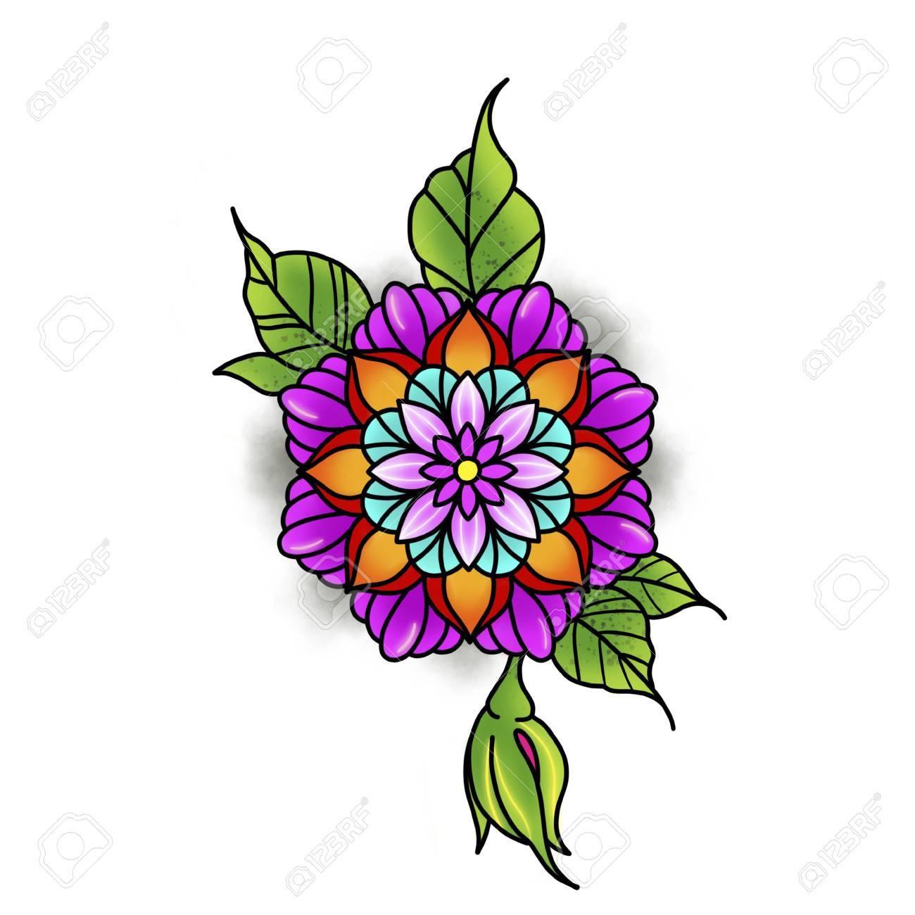 Flower mandala. Vintage decorative element. Islam, Arabic, Indian, ottoman motifs. Banque d'images - 84371941
