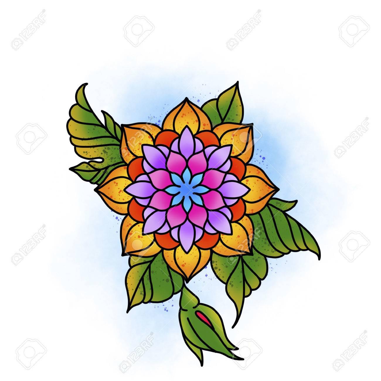 Flower mandala. Vintage decorative element. Islam, Arabic, Indian, ottoman motifs. Banque d'images - 84371939