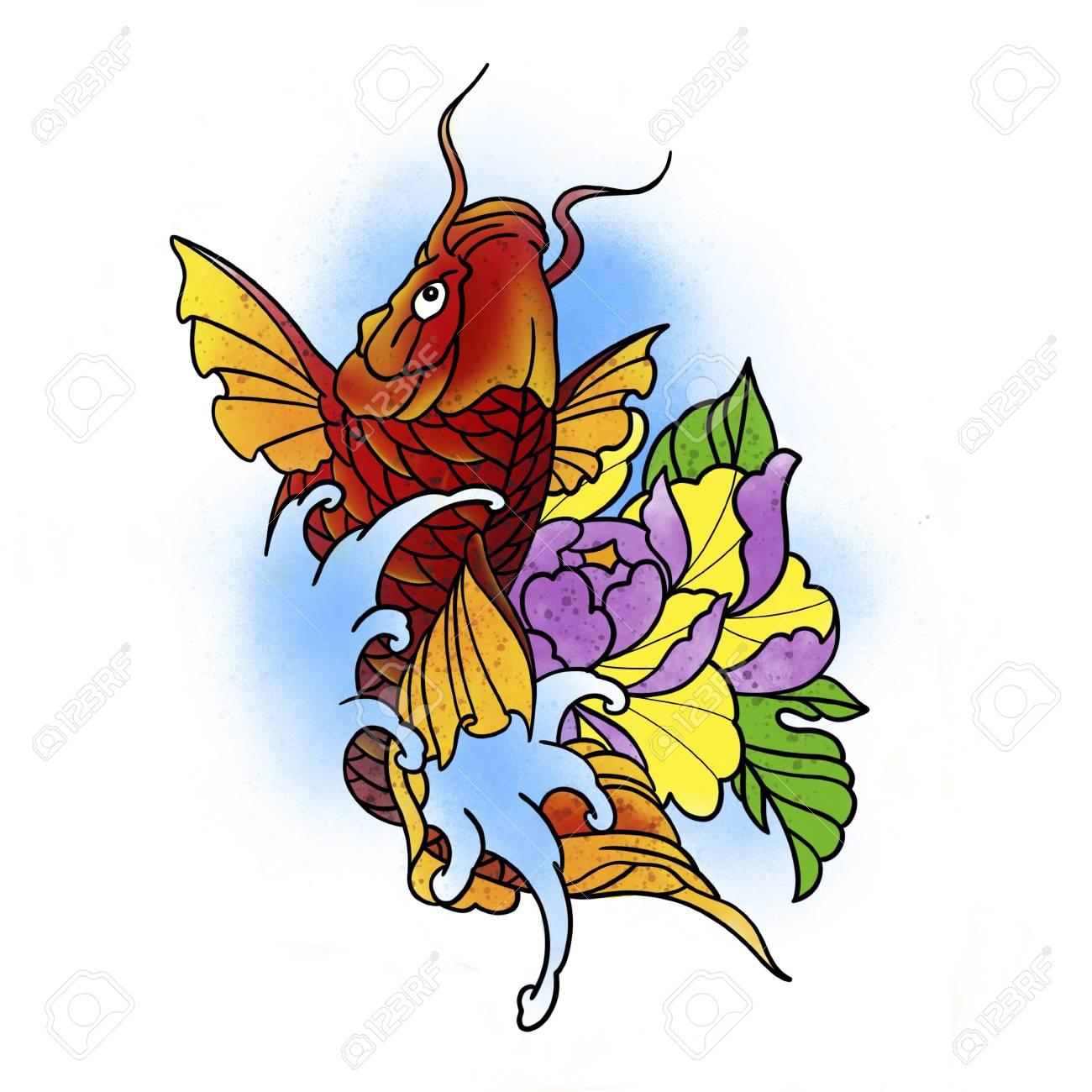 Poisson stylisé et fleur. Conception de tatouage. Illustration de dessin animé, style dessiné à la main. Banque d'images - 87698975
