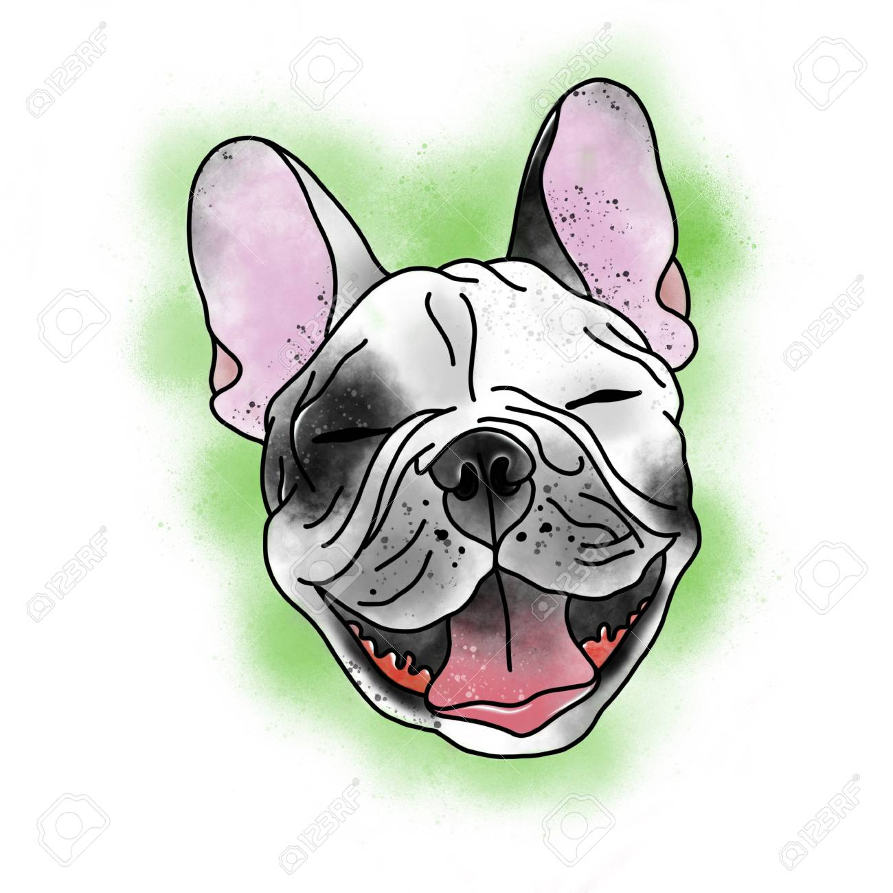 Stylized dog. Tattoo design. Cartoon illustration, hand drawn style. Banque d'images - 87599734