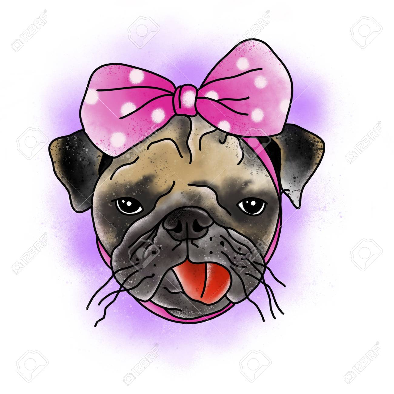 Stylized dog. Tattoo design. Cartoon illustration, hand drawn style. Banque d'images - 87645419