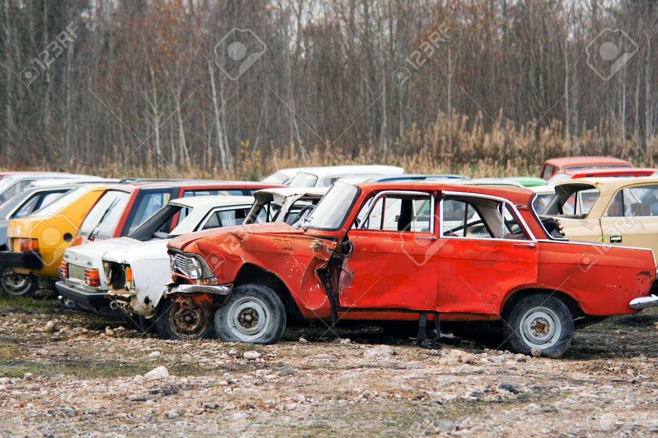 The Old Broken Cars Stock Photo, Picture And Royalty Free Image ...