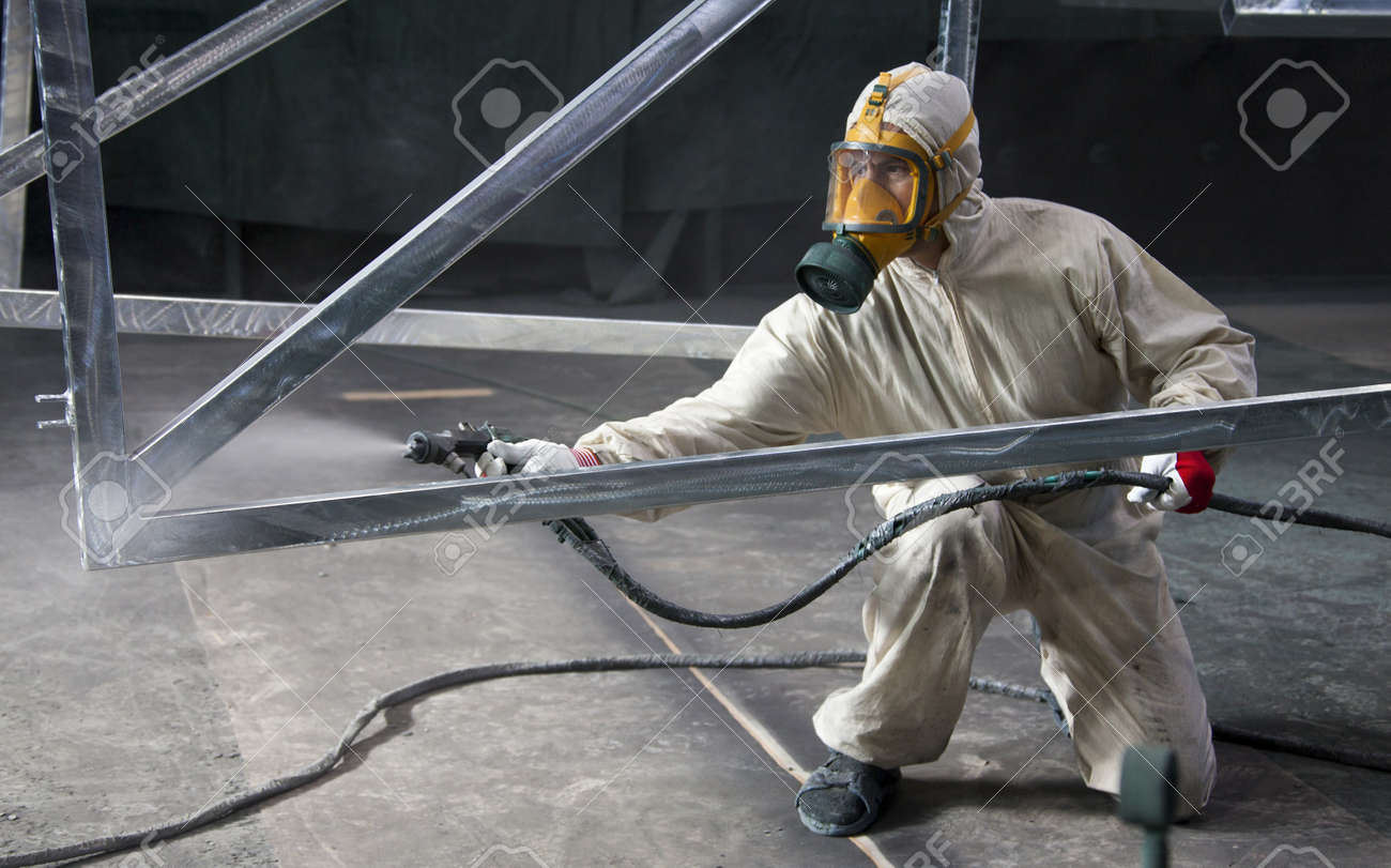 Painter Painting Metal Designs With Airbrush Stock Photo Picture