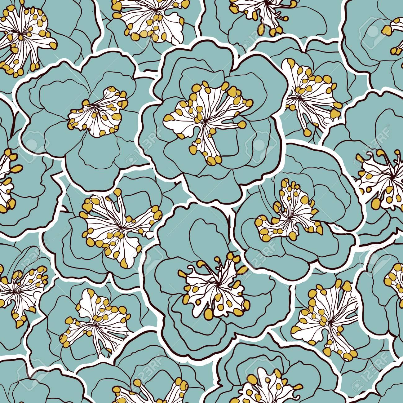 美しいシームレスな花柄 庭の花青い花 ベクトル イラスト