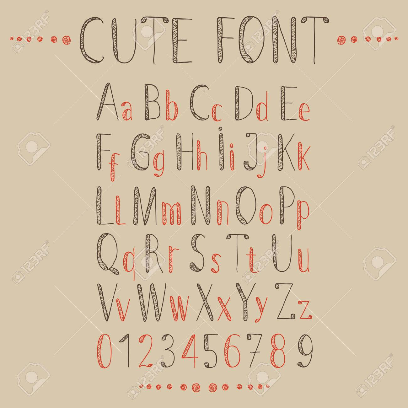 Hand Drawn Alphabet In Retro Style ABC For Your Design Easy To Use And