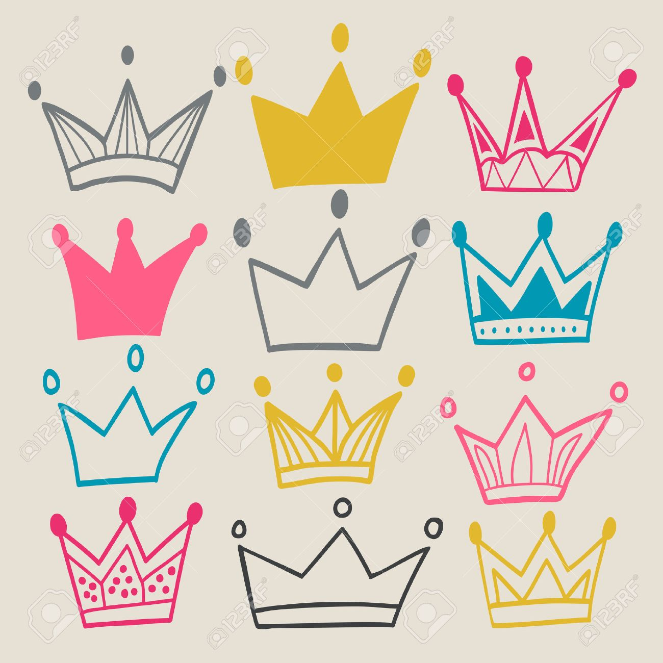 set of cute cartoon crowns pastel backdrop bright colors used