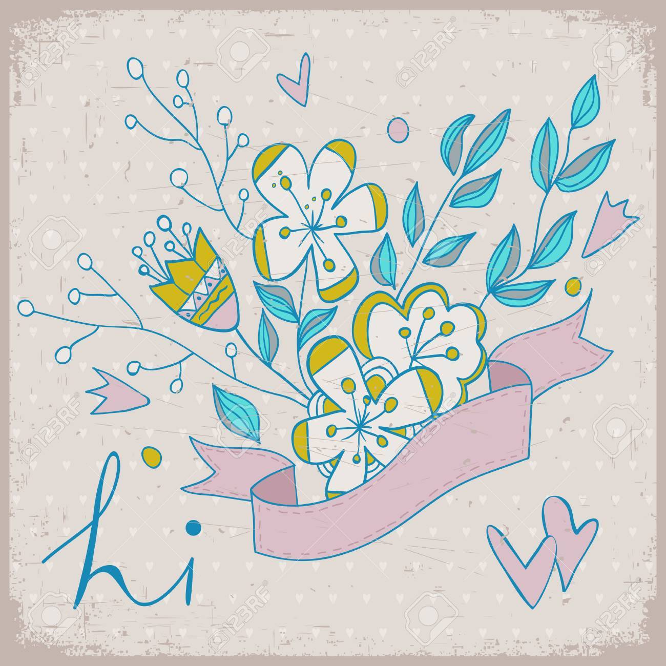Cute Greeting Card With Bunch Of Flower And Ribbon Hand Drawn