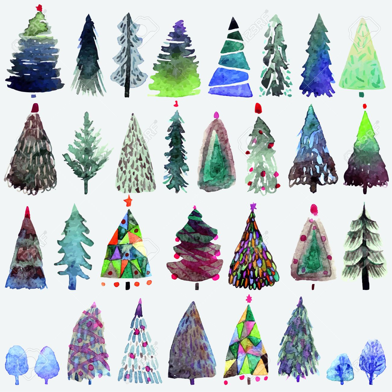 Big Collection Of Watercolor Christmas Tree Isolated On A White ...