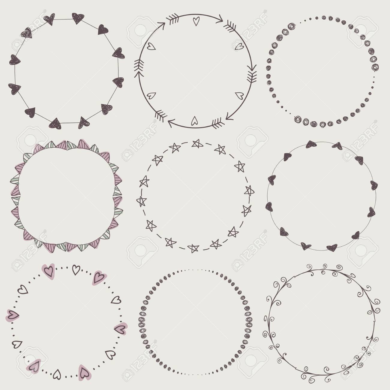Set Of Nine Hand Draw Vector Laurel Wreaths Sketch Frames Hand