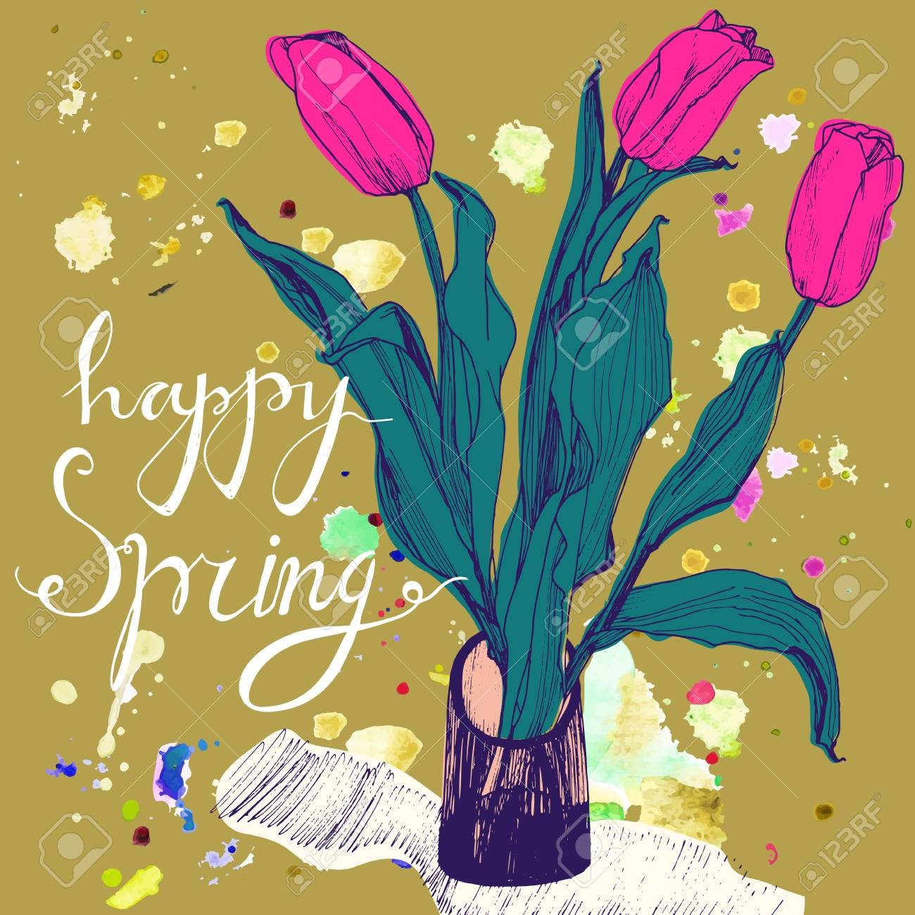 Decorative card with hand drawn tulips and text happy spring decorative card with hand drawn tulips and text happy spring greeting card for 8 march m4hsunfo