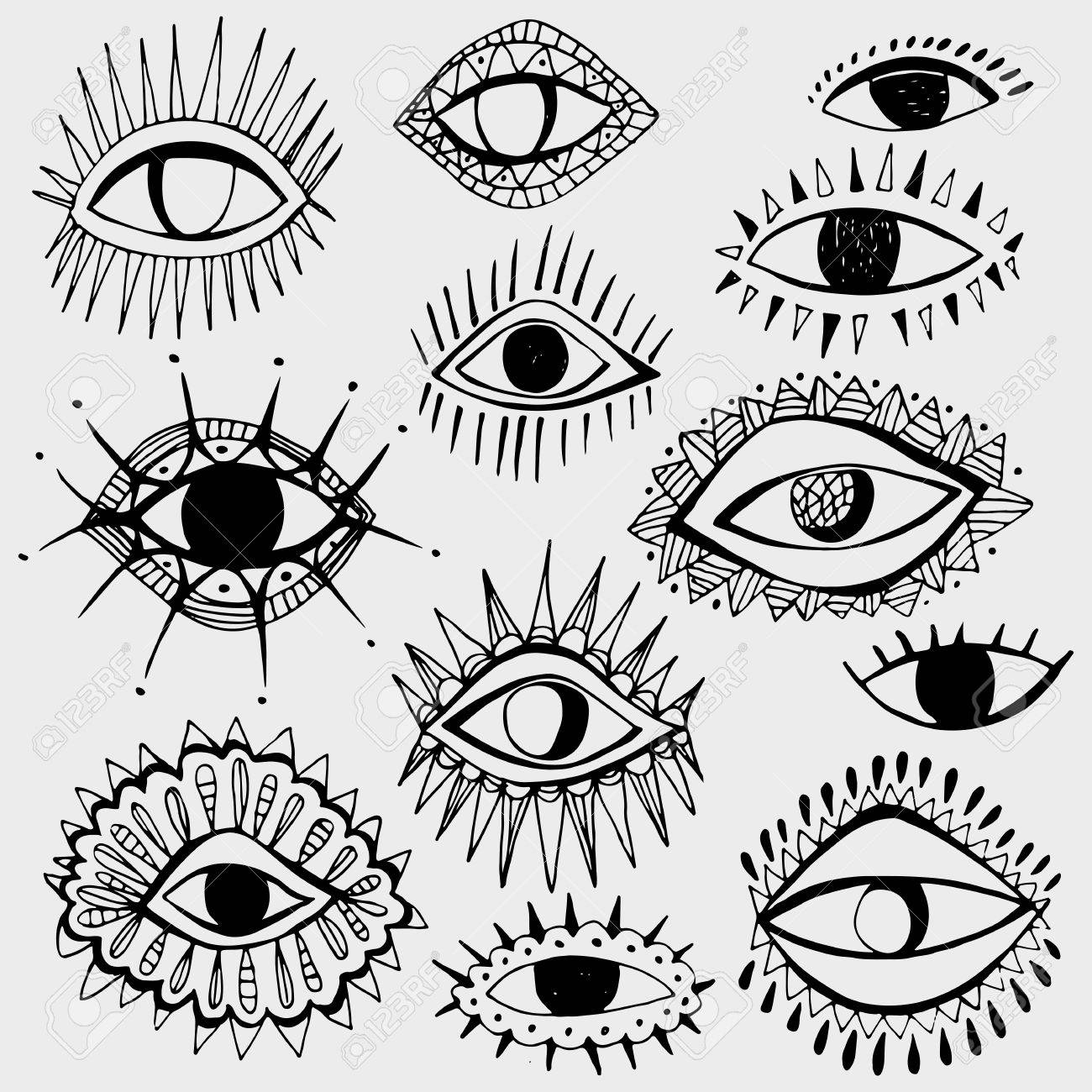 White And Black Colors Abstract Hand Draw Eyes