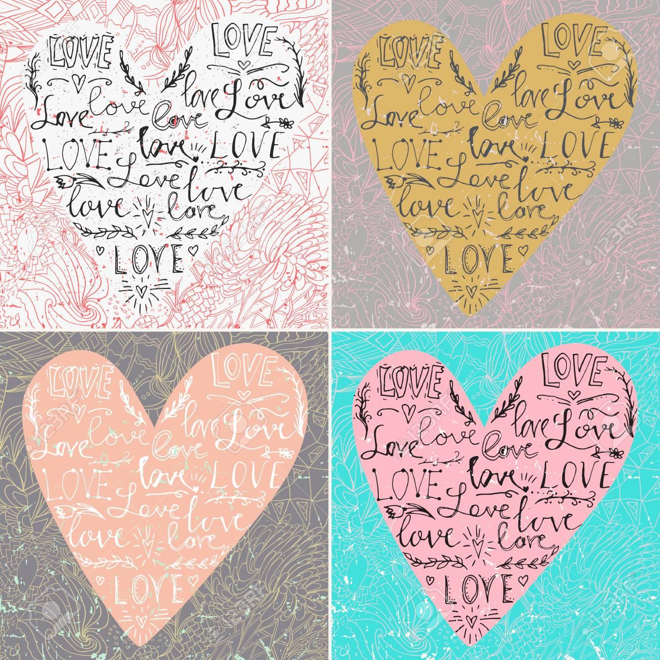 Tarjeta De San Valentin Con Corazon De Linea Y Frase De Amor